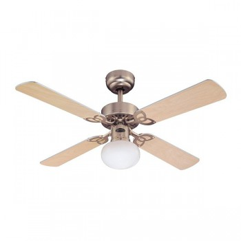 Westinghouse Vegas 42 Inch Brushed Aluminium Ceiling Fan with Light Maple and Silver Blades