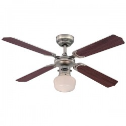 Westinghouse Portland Ambience EL 42 Inch Dark Pewter Ceiling Fan with Weathered Maple and Silver Blades