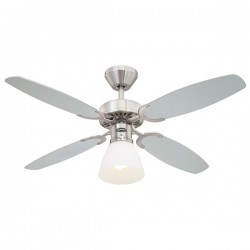 Westinghouse Capitol 42 Inch Brushed Steel Ceiling Fan with Silver and Black Blades