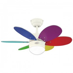 Westinghouse Turbo II 30 Inch White Ceiling Fan with Multicolour and Plain Blade Sets