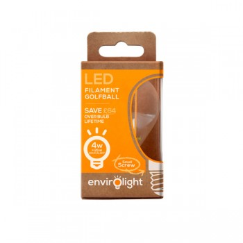 Envirolight Filament 4W Warm White Non-Dimmable E14 LED Golf Ball Bulb
