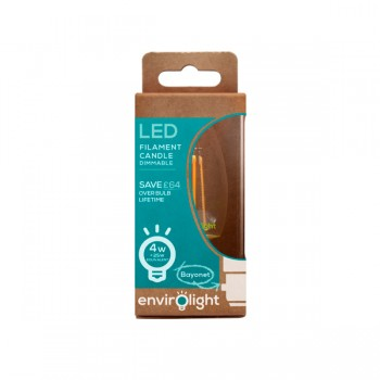 Envirolight Filament 4W Warm White Dimmable B22 LED Candle Bulb