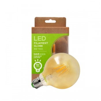 Envirolight Filament 6W Warm White Non-Dimmable E27 Amber LED Globe Bulb