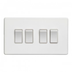 Eurolite Concealed Fix Flat Plate White 4 Gang 10A 2 Way Switch