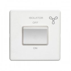 Eurolite Concealed Fix Flat Plate White 1 Gang Triple Pole Fan Isolator Switch