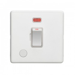 Eurolite Concealed Fix Flat Plate White 1 Gang 20A Double Pole Switch with Flex Outlet and Neon