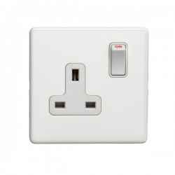 Eurolite Concealed Fix Flat Plate White 1 Gang 13A Double Pole Switched Socket