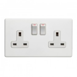 Eurolite Concealed Fix Flat Plate White 2 Gang 13A Double Pole Switched Socket