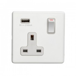 Eurolite Concealed Fix Flat Plate White 1 Gang 13A Switched Socket with USB Charger