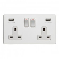 Eurolite Concealed Fix Flat Plate White 2 Gang 13A Switched Socket with USB Charger