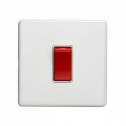 Eurolite Concealed Fix Flat Plate White 1 Gang 45A Double Pole Switch