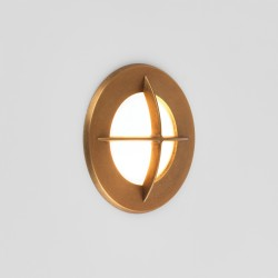 Astro Arran Coastal Round Antique Brass Outdoor LED Wall Light