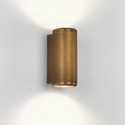 Astro Jura Coastal Twin Antique Brass Outdoor Wall Light