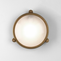Astro Malibu Coastal Round Antique Brass Outdoor Wall Light
