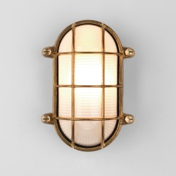 Astro Thurso Coastal Oval Natural Brass Outdoor Wall Light
