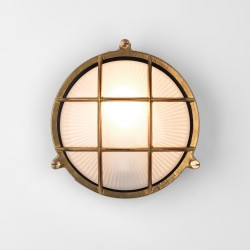 Astro Thurso Coastal Round Natural Brass Outdoor Wall Light