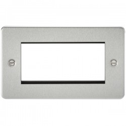 Knightsbridge Flat Plate Brushed Chrome 4 Gang Modular Faceplate