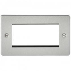Knightsbridge Flat Plate Brushed Chrome 4 Gang Modular Faceplate