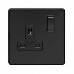 Eurolite Concealed Fix Flat Plate Matt Black 1 Gang 13A Double Pole Switched Socket