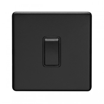 Eurolite Concealed Fix Flat Plate Matt Black 1 Gang 10A 2 Way Switch