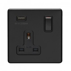 Eurolite Concealed Fix Flat Plate Matt Black 1 Gang 13A Switched Socket with USB Charger
