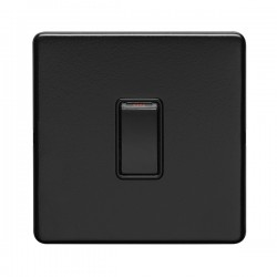 Eurolite Concealed Fix Flat Plate Matt Black 1 Gang 20A Double Pole Switch