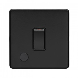 Eurolite Concealed Fix Flat Plate Matt Black 1 Gang 20A Double Pole Switch with Flex Outlet