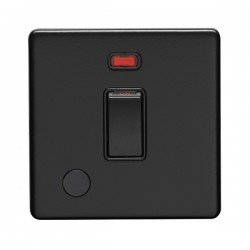 Eurolite Concealed Fix Flat Plate Matt Black 1 Gang 20A Double Pole Switch with Flex Outlet and Neon