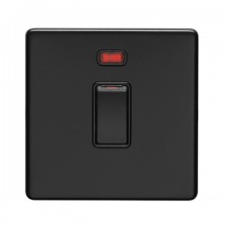 Eurolite Concealed Fix Flat Plate Matt Black 1 Gang 20A Double Pole Switch with Neon