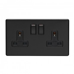 Eurolite Concealed Fix Flat Plate Matt Black 2 Gang 13A Double Pole Switched Socket