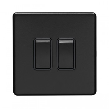Eurolite Concealed Fix Flat Plate Matt Black 2 Gang 10A 2 Way Switch
