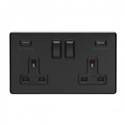 Eurolite Concealed Fix Flat Plate Matt Black 2 Gang 13A Switched Socket with USB Charger