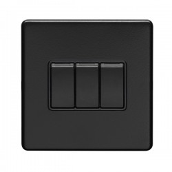 Eurolite Concealed Fix Flat Plate Matt Black 3 Gang 10A 2 Way Switch