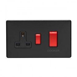 Eurolite Concealed Fix Flat Plate Matt Black 2 Gang 45A Double Pole Switch and 13A Switched Socket