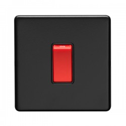 Eurolite Concealed Fix Flat Plate Matt Black 1 Gang 45A Double Pole Switch