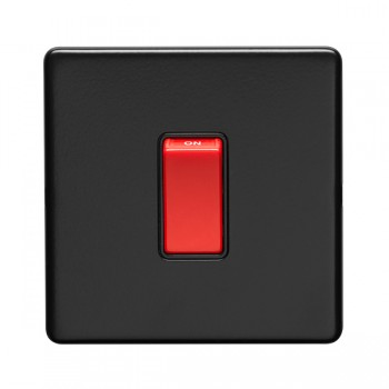 Eurolite Concealed Fix Flat Plate Matt Black 1 Gang 45A Double Pole Switch
