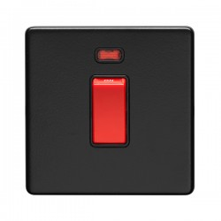 Eurolite Concealed Fix Flat Plate Matt Black 1 Gang 45A Double Pole Switch with Neon