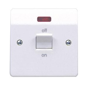 MK Electric Logic Plus™ White 32A 1 Gang Double Pole Switch with Neon