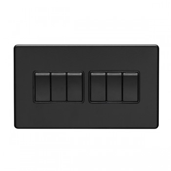 Eurolite Concealed Fix Flat Plate Matt Black 6 Gang 10A 2 Way Switch