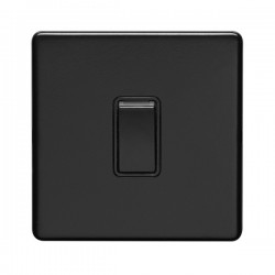 Eurolite Concealed Fix Flat Plate Matt Black 1 Gang 10A Intermediate Switch