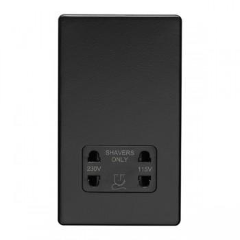 Eurolite Concealed Fix Flat Plate Matt Black Dual Voltage Shaver Socket