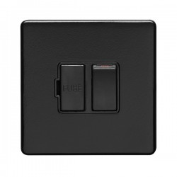 Eurolite Concealed Fix Flat Plate Matt Black 13A Switched Fuse Connection Unit