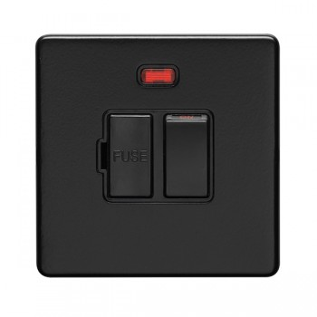 Eurolite Concealed Fix Flat Plate Matt Black 13A Switched Fuse Connection Unit with Neon