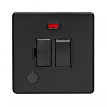 Eurolite Concealed Fix Flat Plate Matt Black 13A Switched Fuse Connection Unit with Flex Outlet and Neon