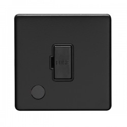 Eurolite Concealed Fix Flat Plate Matt Black 13A Fuse Connection Unit with Flex Outlet
