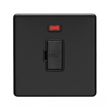 Eurolite Concealed Fix Flat Plate Matt Black 13A Fuse Connection Unit with Neon