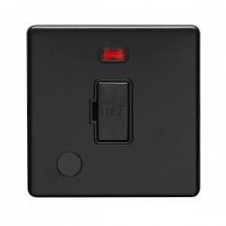 Eurolite Concealed Fix Flat Plate Matt Black 13A Fuse Connection Unit with Flex Outlet and Neon