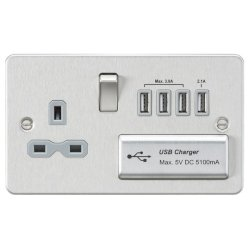 Knightsbridge Flat Plate Brushed Chrome 13A Switched Socket with Quad USB Charger - Grey Insert