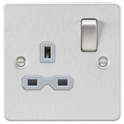 Knightsbridge Flat Plate Brushed Chrome 13A 1 Gang DP Switched Socket - Grey Insert