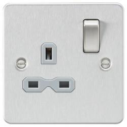 Knightsbridge Flat Plate Brushed Chrome 13A 1 Gang DP Switched Socket - Grey Insert